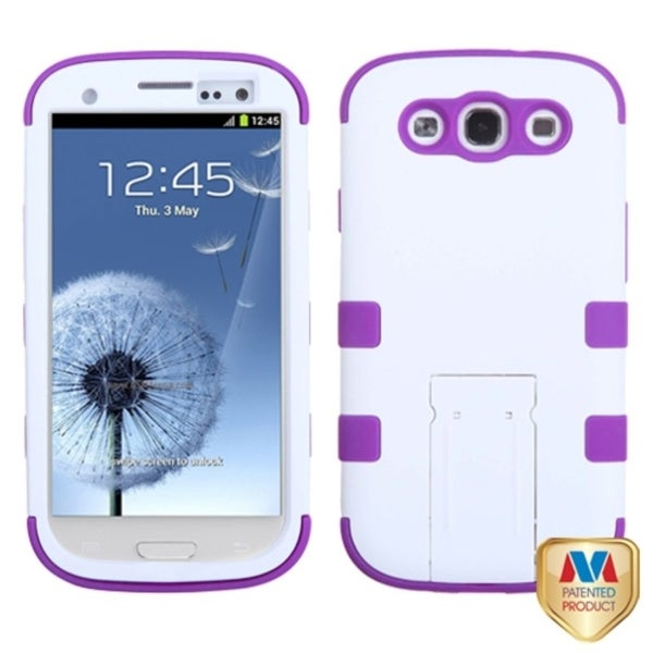 BasAcc Rubber White/ Purple Tuff Hybrid Case For Samsung© Galaxy S3