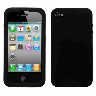 BasAcc Solid Black Skin Case For Apple iPhone 4S/ 4