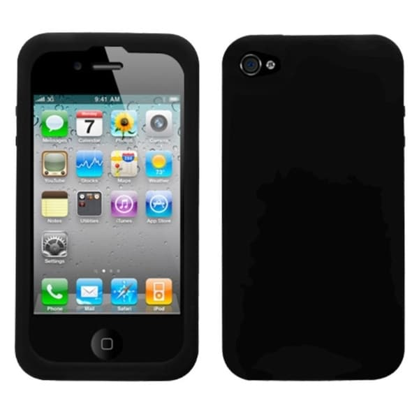 INSTEN Solid Black Skin Phone Case Cover for Apple iPhone 4S/ 4