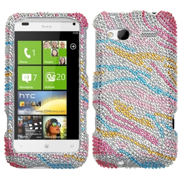 INSTEN Colorful Zebra Diamante Phone Protector Phone Case Cover for HTC Radar 4G