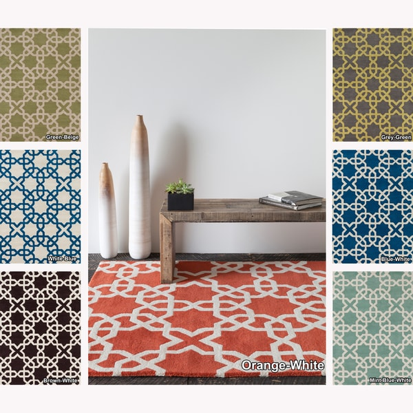 Artist's Loom Hand-tufted Moroccan Geometric Wool Rug (5'x7')