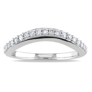 Miadora 14k White Gold 1/4ct TDW Curved Diamond Wedding Band (H-I, I2-I3)