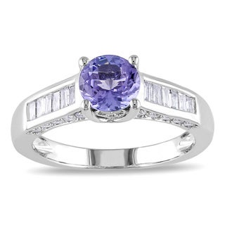 Miadora 14k White Gold Tanzanite and 1/2ct TDW Diamond Ring (G-H, I1-I2)