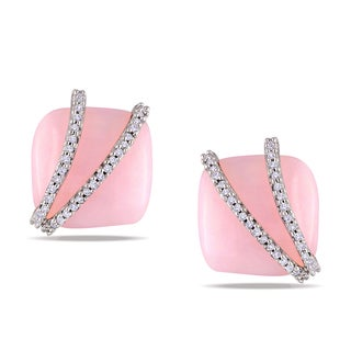 Miadora Rose-plated Silver Pink Opal and 1/5ct TDW Diamond Earrings (H-I, I2-I3)