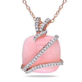 Miadora Rose Silver Pink Opal and 1/6ct TDW Diamond Necklace (H-I, I2-I3)