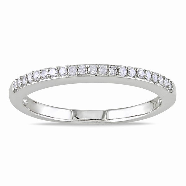 Miadora 10k White Gold 1/10ct TDW Diamond Anniversary Stackable Wedding Band Ring (G-H, I2-I3)