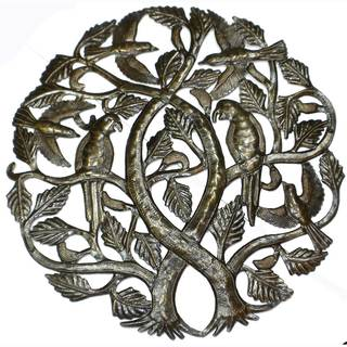 Handmade Tree of Life with Parrots 24-inch Metal Art (Haiti)