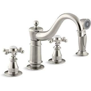 Kohler Antique Kitchen Vibrant Brushed Nickel Sidespray Six-prong Handles and Sink Faucet