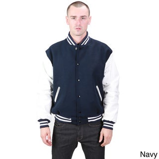 United Face Men's Leather and Wool Athletic Varsity Jacket