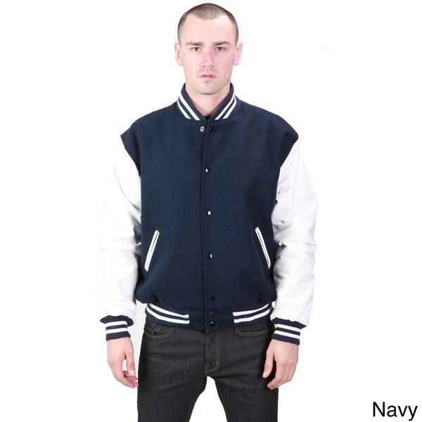 United Face Men's Leather and Wool Athletic Varsity Jacket