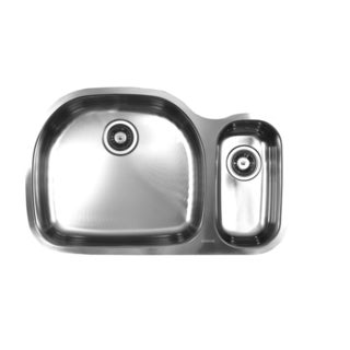 Ukinox D537.70.30.10L 70/30 Double Basin Stainless Steel Undermount Kitchen Sink