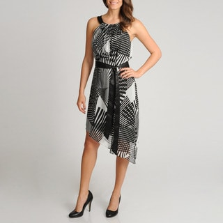 Adrianna Papell Women's Asymmetrical Hem Printed Dress
