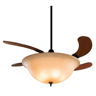 Fanimation Air Shadow 43-inch Glass Shade Retractable 3-light Ceiling Fan