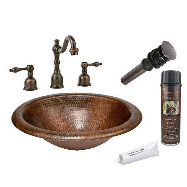 Premier Copper Products Widespread Faucet and Hammered Copper Sink Set
