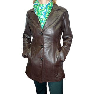 Jones New York Women's 'Walker' Brown Leather Coat