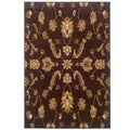 Brown Transitional Floral Rectangle Rug (5'3 x 7'5)