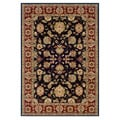 Black and Red Oriental Floral Area Rug (5'3 x 7'5)
