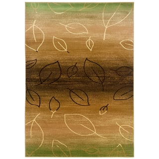 Light Brown and Light Moss Abstract Rectangle Rug (5'3 x 7'5)