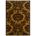 Dark Yellow and Light Brown Transitional Floral Area Rug (5'3 x 7'5)
