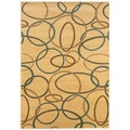 Brown Geometric Circles Area Rug (5'3 x 7'5)