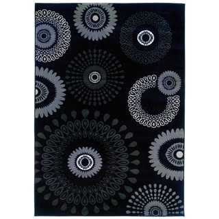 LNR Home Adana Charcoal Transitional Medallion Area Rug (5'3 x 7'5)