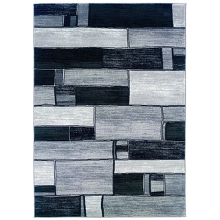 LNR Home Adana Charcoal / Grey Geometric Area Rug (5'3 x 7'5)