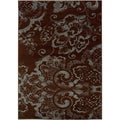 Brown and Blue Transitional Floral Area Rug (5'3 x 7'5)