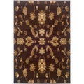 Brown Transitional Floral Area Rug (7'9 x 9'9)