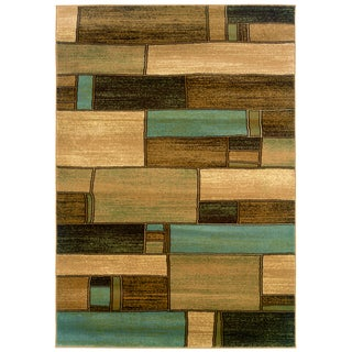 Blue and Berber Abstract Rectangles Area Rug (7'9 x 9'9)