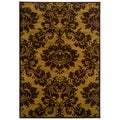 Dark Yellow/ Light Brown Floral Rug (7'9 x 9'9)