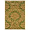 Light Moss/ Berber Floral Rug (7'9 x 9'9)