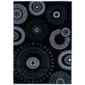 Charcoal Grey Abstract Area Rug (7'9 x 9'9)