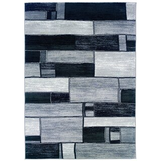 LNR Home Adana Charcoal/ Grey Geometric Area Rug (7'9 x 9'9)