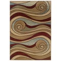 Brown and Blue Swirls Accent Rug (2'2 x 3'3)