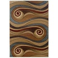 Gold and Brown Swirls Accent Rug (2'2 x 3'3)