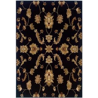 LNR Home Adana Black Floral Accent Rug (1'10 x 3'1)