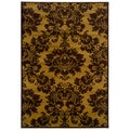 Dark Yellow/Light Brown Floral Accent Rug (2'2 x 3'3)
