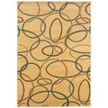 Cream Abstract Accent Rug (2'2 x 3'3)