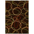 Brown Abstract Accent Rug (2'2 x 3'3)