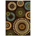 Brown/Blue/Beige Abstract Spirals Accent Rug (2'2 x 3'3)