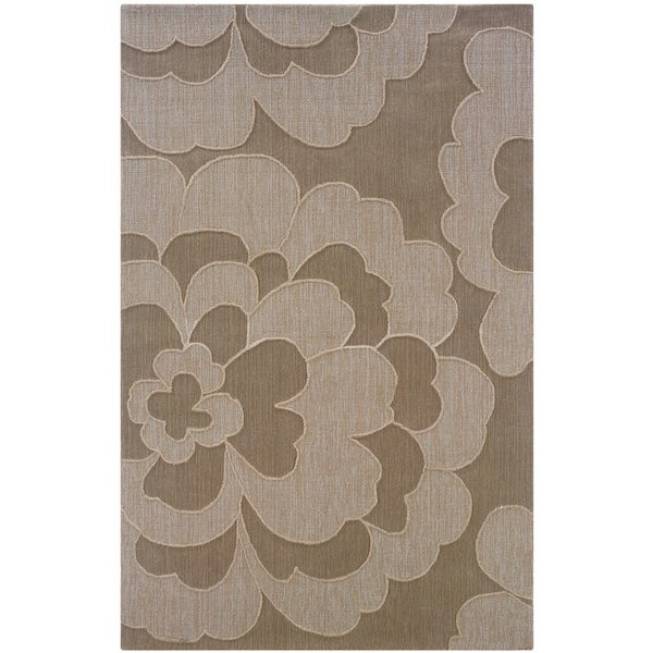 Hand-loomed Abstract Floral Grey Rug (8' x 10')