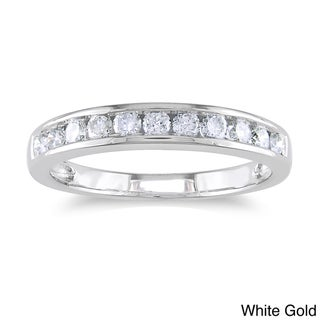 Miadora 14k Gold 1/2ct TDW Certified Diamond Channel Wedding Band (G-H, I1-I2)