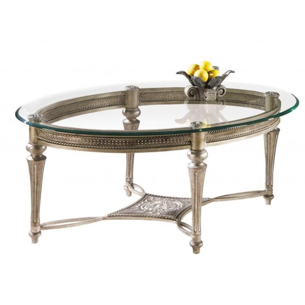 Pewter Glass Top Oval Living Room Side Accent Cocktail Coffee Table