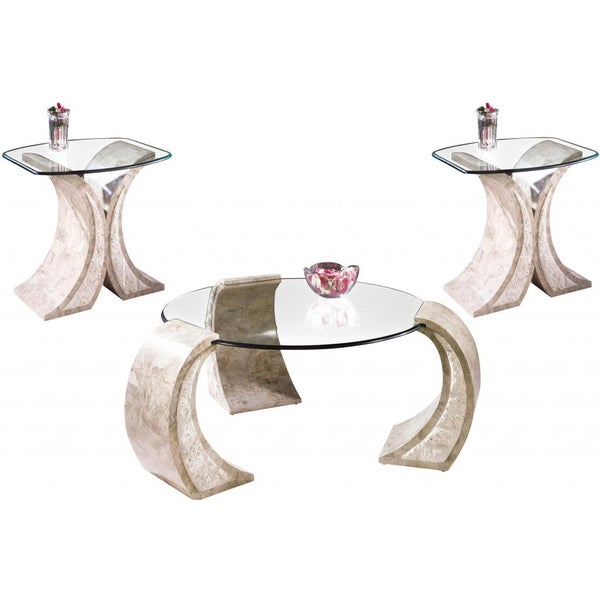 Albany Natural Stone End and Cocktail Table Set