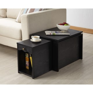 Furniture of America Propel Contemporary 2-in-1 Black Finish Mobile Extension End Table