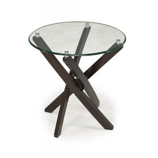 Xenia Glass-Top Round End Table