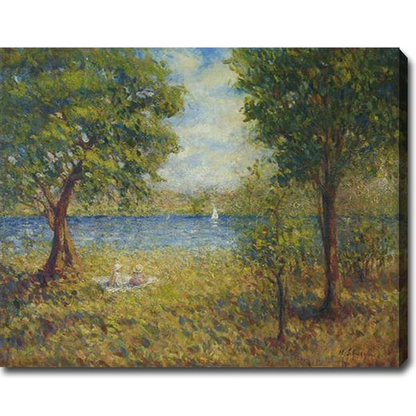 Henri Lebasque 'Two Girls by the Eau River' Oil on Canvas Art