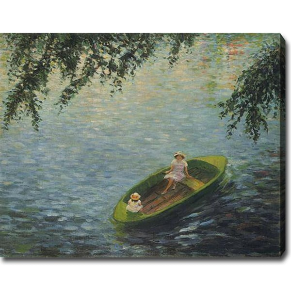 Henri Lebasque 'Young Girls in a Boat on the Marne' Oil Canvas Art