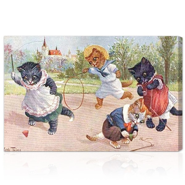 Oliver Gal 'Kittens Playing in the Park' Canvas Art