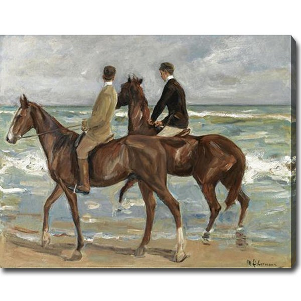 Max Liebermann 'Two Riders on the Beach' Oil Canvas Art